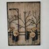 Lamp Post Tree Scene Metal Wall Art - Left