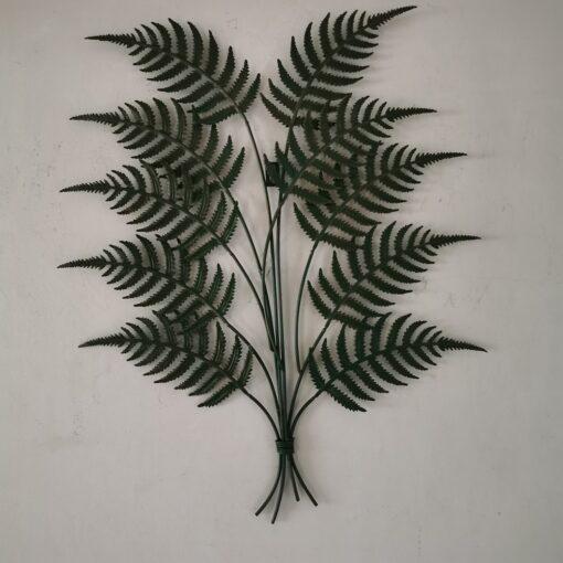 Green Fern Leaves Bunch Metal Wall Art