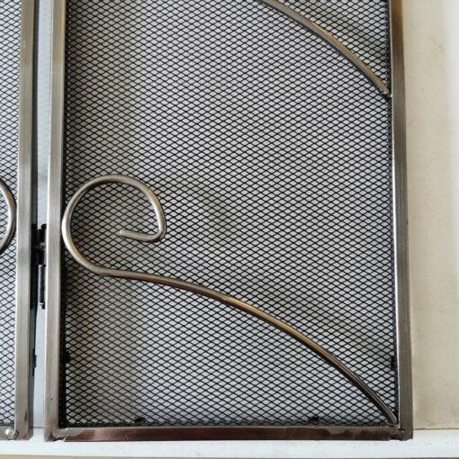 Antique Iron 23 Inch Three Fold Fire Screen Spark Guard Scroll