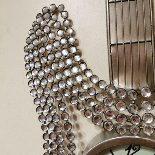 Silver Guitar Jewelled Diamante Wall Hanging Clock
