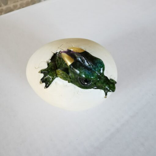 Resin Small Green Dragon Hatching From Egg