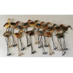 Large 16 Wading Birds Metal Wall Art