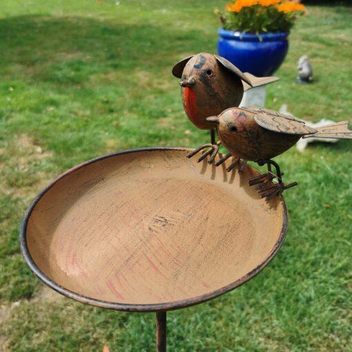 Pair of Robins Bird Bath On Tall Spike