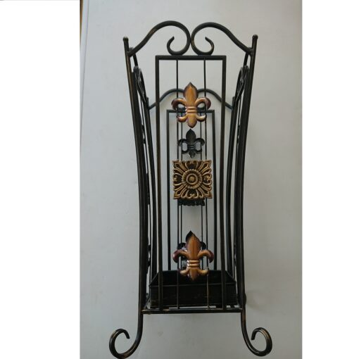 Square Bronzed Ornate Umbrella Stand With Removable Drip Tray