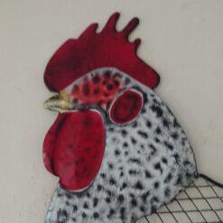 Large White Hen Hanging Metal Wall Art
