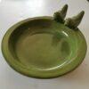 Ceramic Bird Bath With Two Birds - Blue