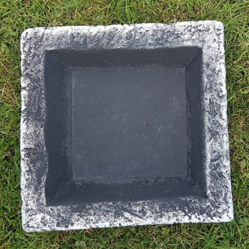 Black and White Square Bird Bath/Feeder