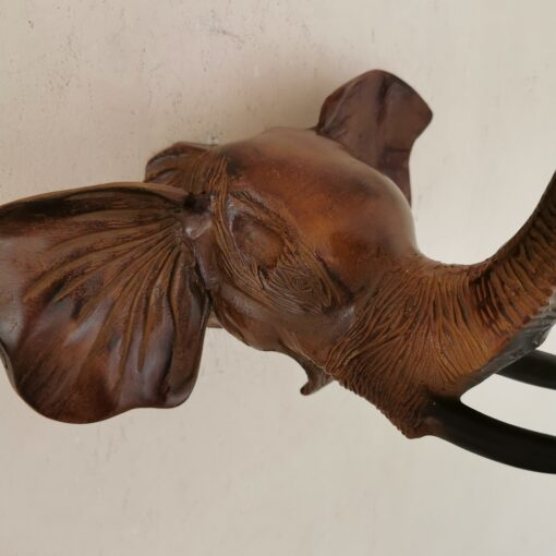 Brown Elephant Head With Tusks Metal Wall Hanging