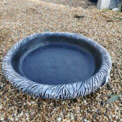 40cm Round Log Effect Ground Bird Bath or Replacement Top Black and White