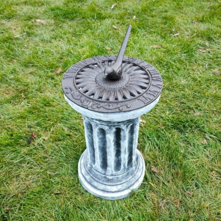 Concrete Plinth & Sunflower Sundial Combo Black & White