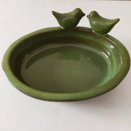 Oval Ceramic Bird Bath With Two Birds - Green