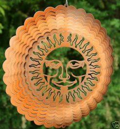 """12"""" Steel Garden Wind Spinner- Sunburst Copper"""