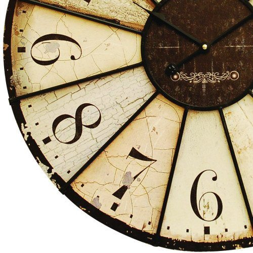 Antiqued Wood and Metal Roulette Clock