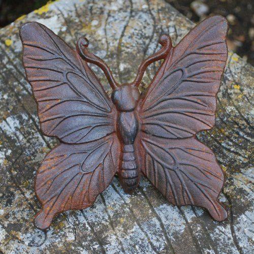 Cast Iron Rusty Look Butterfly Garden Ornament