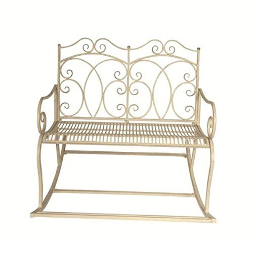 Fallen Fruits Old Rectory Rocking Bench - Metal Bench - With Arms and Back - Victorian Style - L 105 x W 114 x H 102