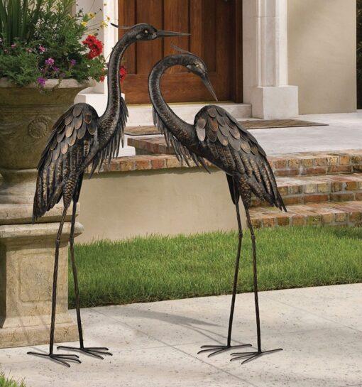 Creekwood Preening Heron Bronze Statue