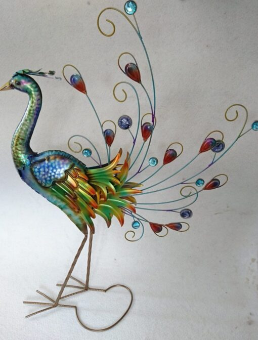 Metal Large Colourful Peacock 81cm High