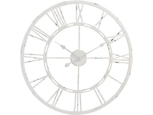 Antique White Metal Skeleton Wall Clock