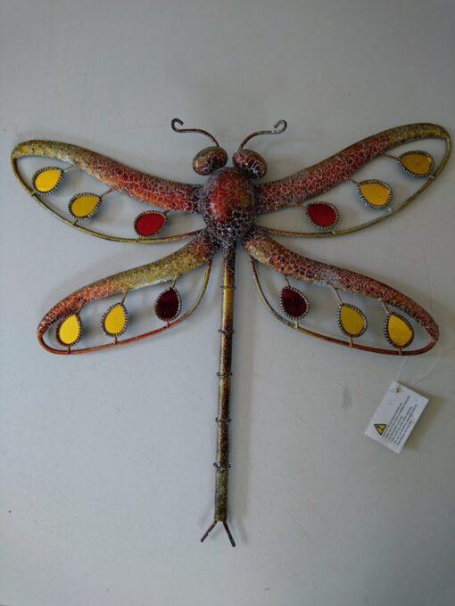 Metal Wall Art Glitter Dragonfly Large (Orange)