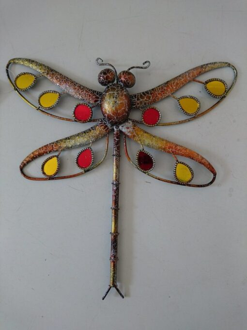 Metal Wall Art Glitter Dragonfly Small (Orange)