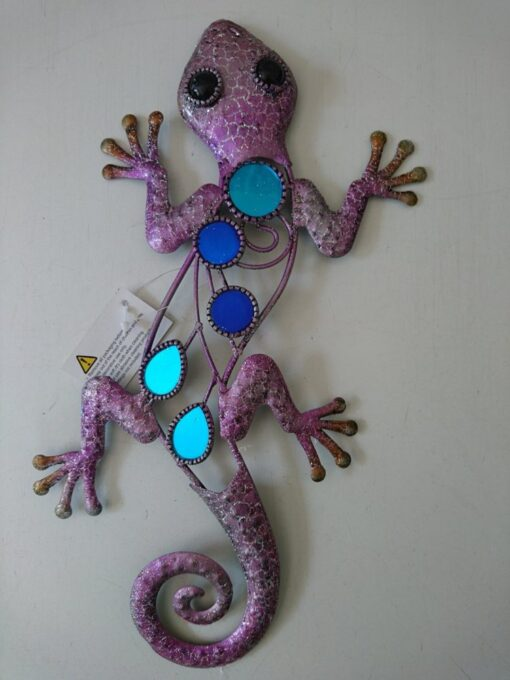 Metal Wall Art Glitter Lizard (Purple)