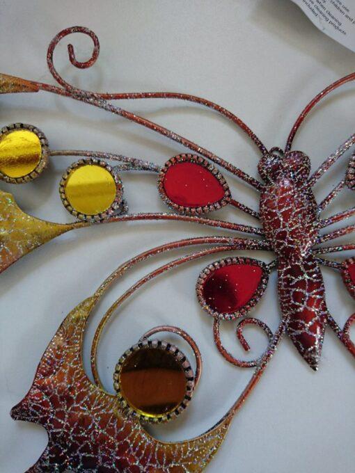 Metal Wall Art Hanging Glitter Butterfly (Orange)