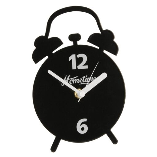 Modern Metal Mantel Clock Double Bell Shape (Black)