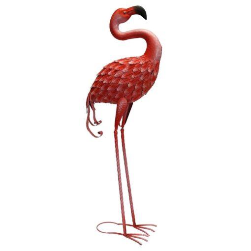 Metal Forward Facing Flamingo Garden Ornament for Indoor or Outdoor Use - Life size, Realistic
