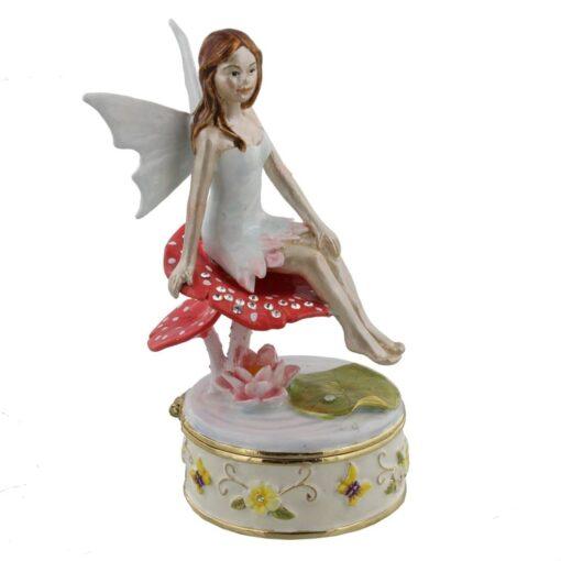Treasured Trinkets Fairy Sitting on Toadstool Trinket Box