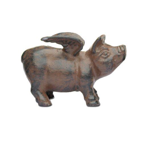 Vintage Flying Pig Cast Iron Garden Ornament