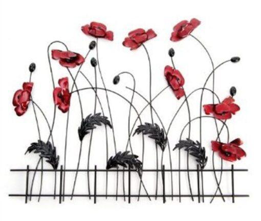 Metal Wall Art Picture - Red Poppy Flower Scene Fence